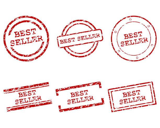 znaczki bestsellerów - pieczęć gumowa stock illustrations