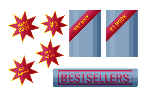 Best seller stickers and signs. Labels for top book sellers in cartoon style. Vector illustration