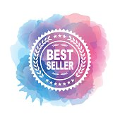 Best seller symbol on watercolor background