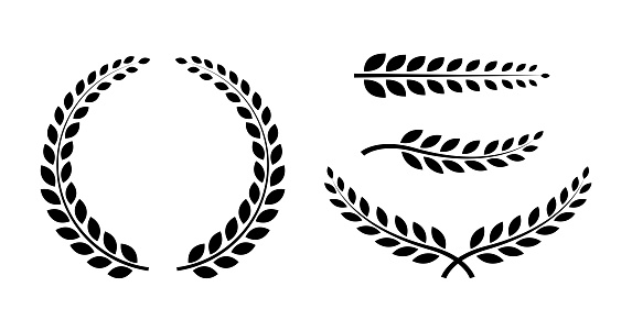 Best set Laurel Wreaths and branches. Wreath collection. Winner wreath icon. Awards. Vector illustration.