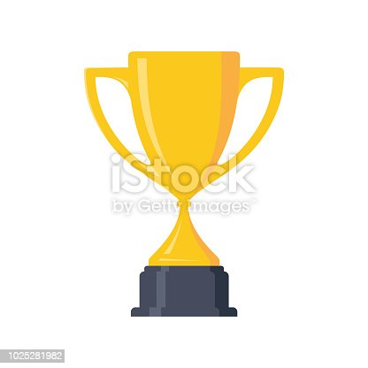 Best simple champion cup winner trophy award and victory design element. Flat icon vector trophy. Vector illustration EPS.8 EPS.10
