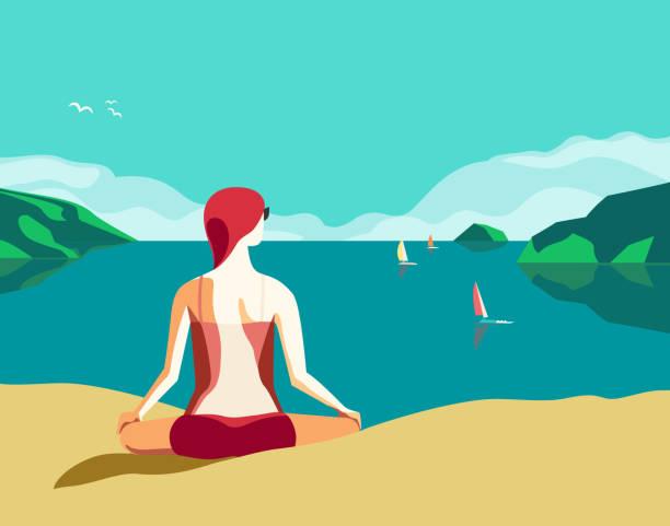 bildbanksillustrationer, clip art samt tecknat material och ikoner med bästa sommarsemester slappna av - kvinna tillfreds