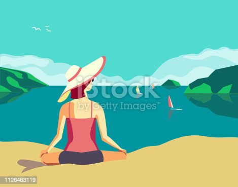 Summer seaside landscape. Nature scenic view poster. Hand drawn retro color cartoon. Girl relaxing on holiday vacation season. Sea travel leisure relax. Vector tourist trip advertisement background