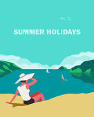 Summer seaside landscape. Blue ocean scenic view poster. Freehand drawn pop art retro style. Holiday vacation season sea travel leisure. Sea leisure relax. Vector tourist trip advertisement background