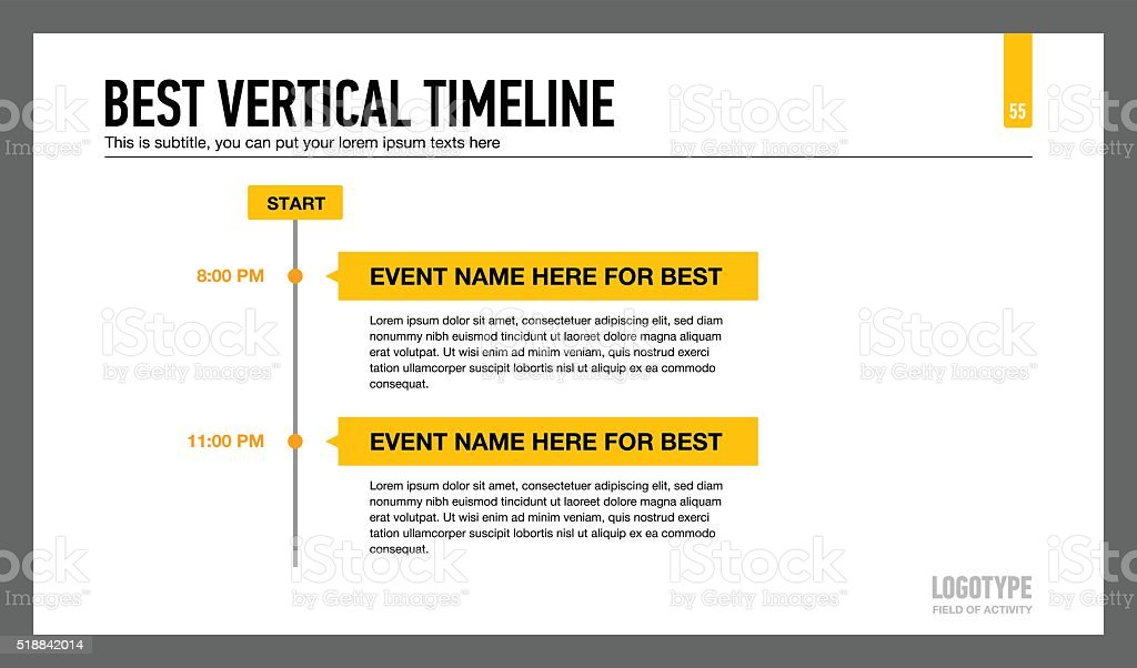 Best Vertical Timeline Template 1 vector art illustration