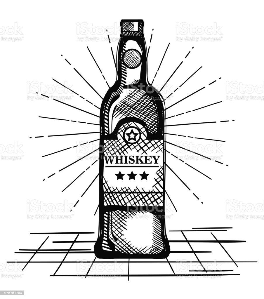 besten Whisky gezeichnete Flaschenetikett - Lizenzfrei Alkoholisches Getränk Vektorgrafik