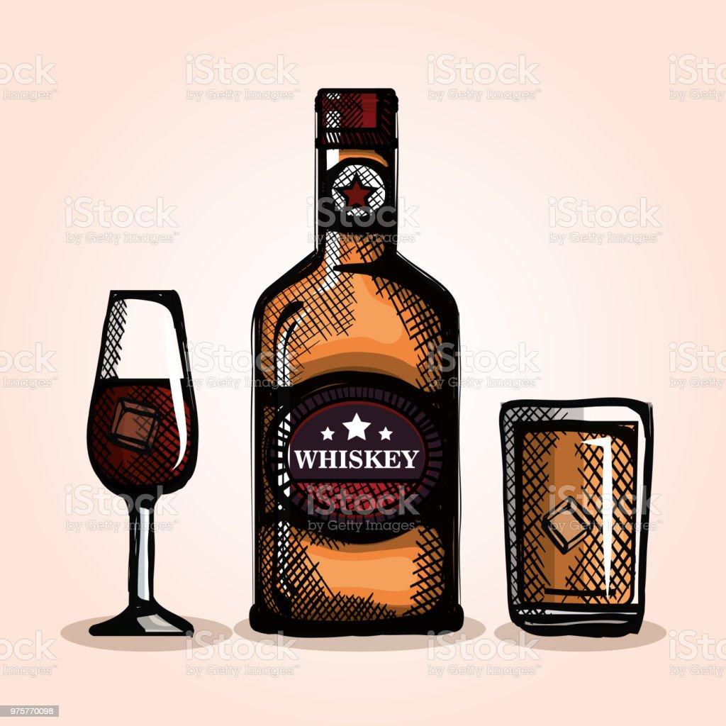 besten whiskeyflaschen und Becher - Lizenzfrei Alkoholisches Getränk Vektorgrafik