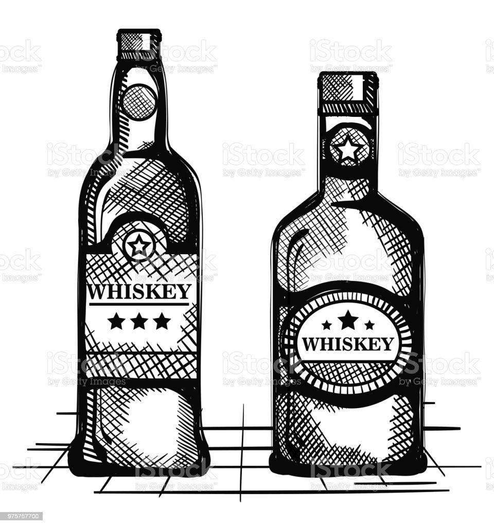 besten Whisky set Flaschen gezogen - Lizenzfrei Alkoholisches Getränk Vektorgrafik