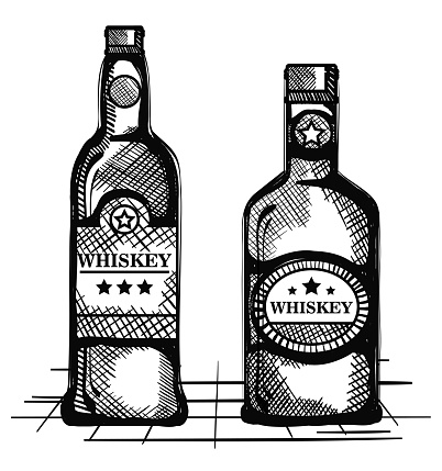 Besten Whisky Set Flaschen Gezogen Stock Vektor Art und mehr Bilder von Alkoholisches Getränk