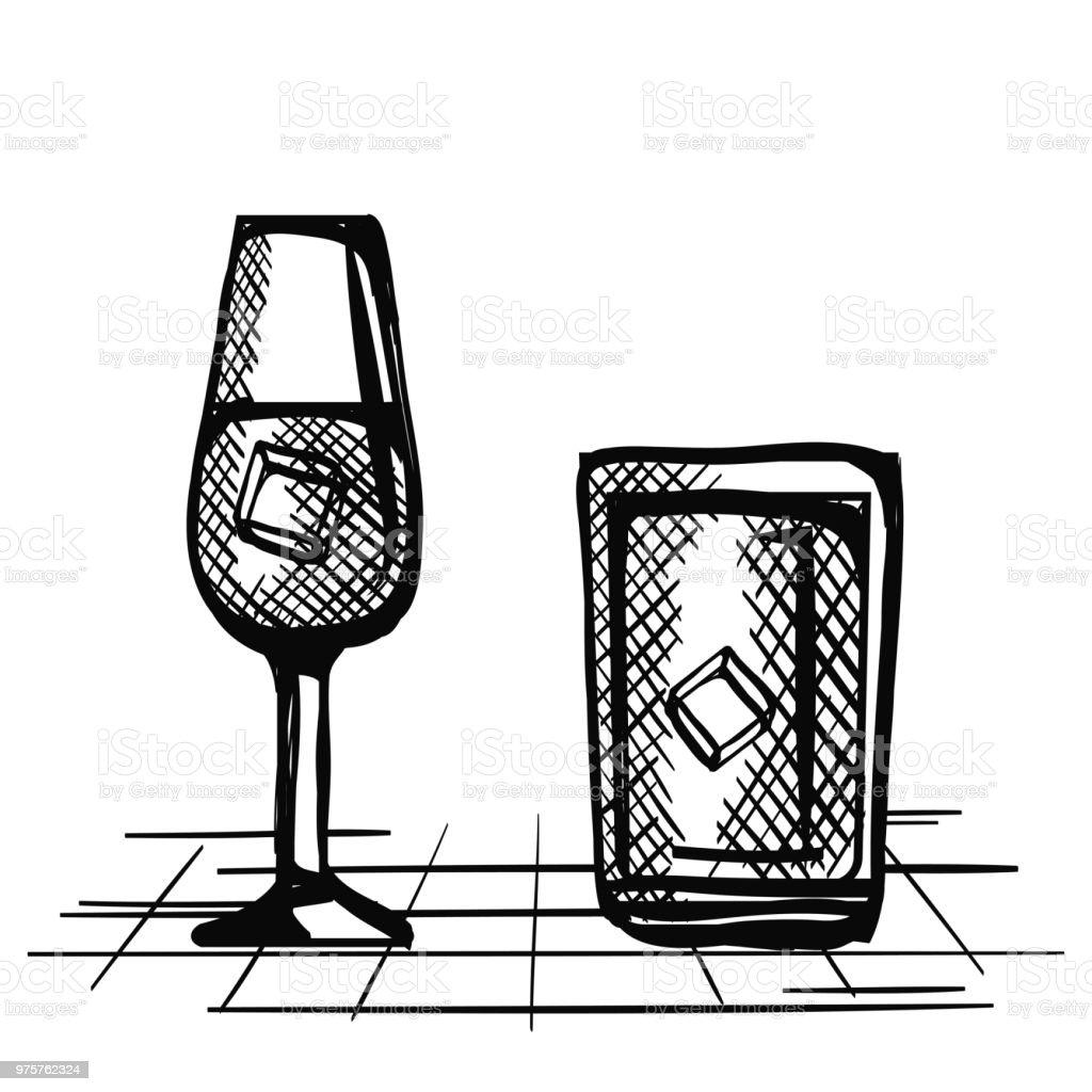 besten Whisky set Tassen gezogen - Lizenzfrei Alkoholisches Getränk Vektorgrafik