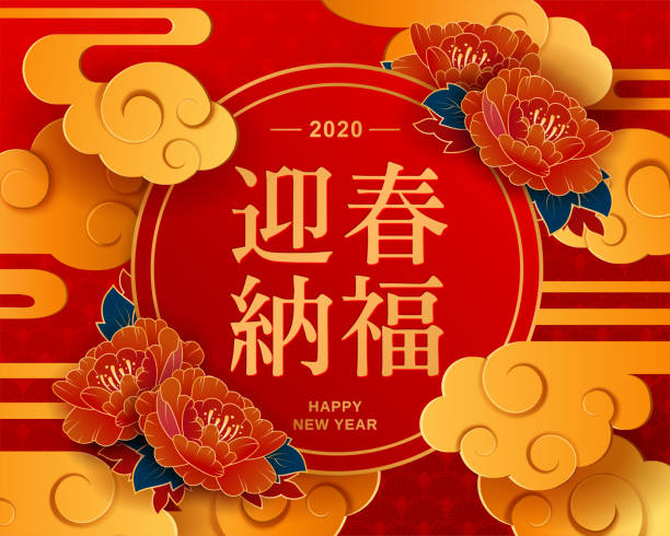 Best Wishes For The Rat Year To Come In Chinese Wordhappy New Year 2020 Chinese New Year China Red Round Lantern And Flowers On Red Background Stock Illustration Download Image Now Istock