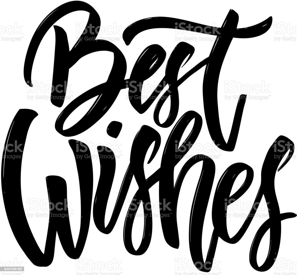 Best wishes. Hand drawn lettering phrase isolated in golden style on dark background.