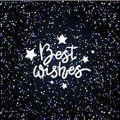 Best wishes handwritten lettering design. Congratulations card vector clip art isolated on gradient background.
