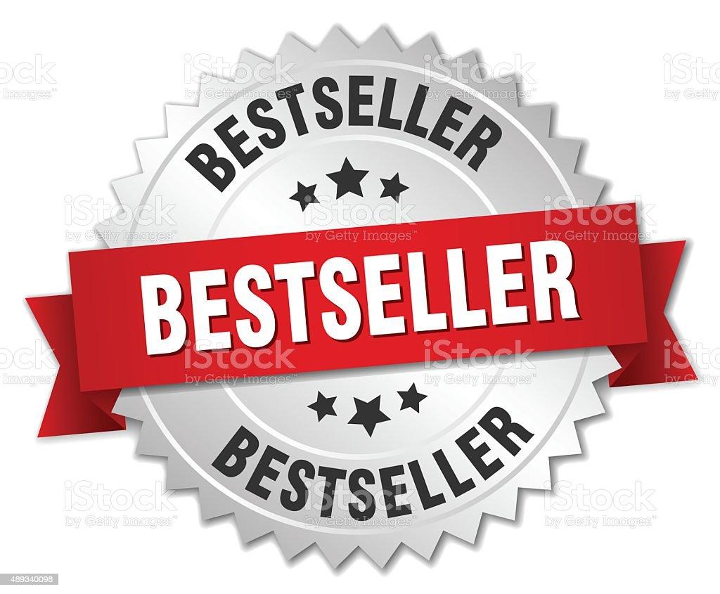 Meilleures ventes 3d badge argent avec ruban rouge - Illustration vectorielle