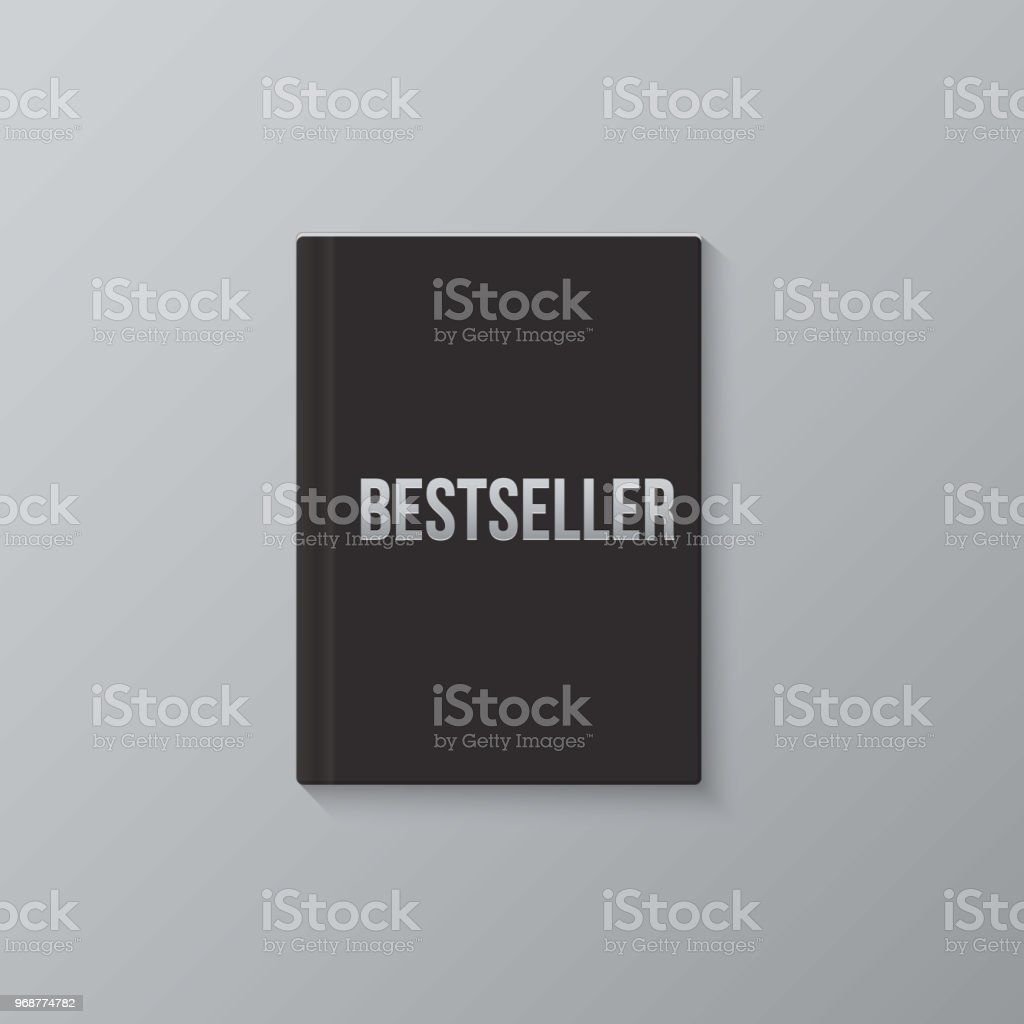 bestseller book template vector black blank book cover and