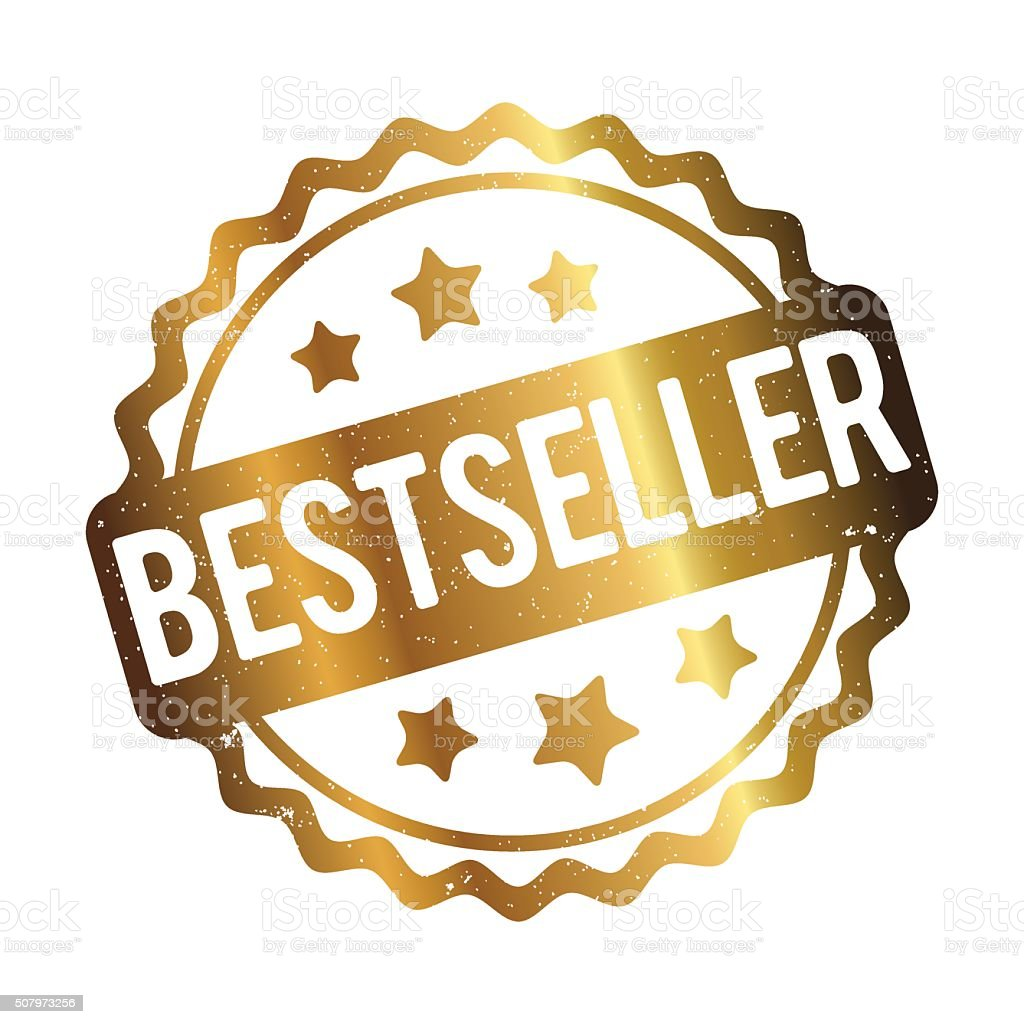 Bestseller rubber stamp gold on a white background.