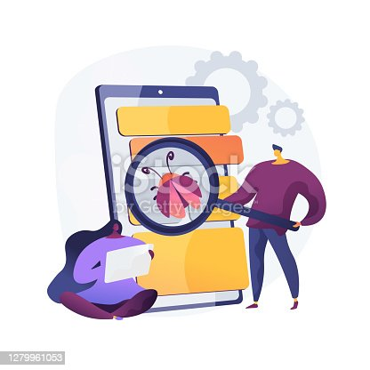 Beta testing abstract concept vector illustration. New product beta test, presale user experience, software development process, second phase testing, real environment check abstract metaphor.