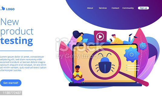 Tiny business people with digital devices testing demo software. Beta testing, new product testing, presale user experience concept. Website vibrant violet landing web page template.