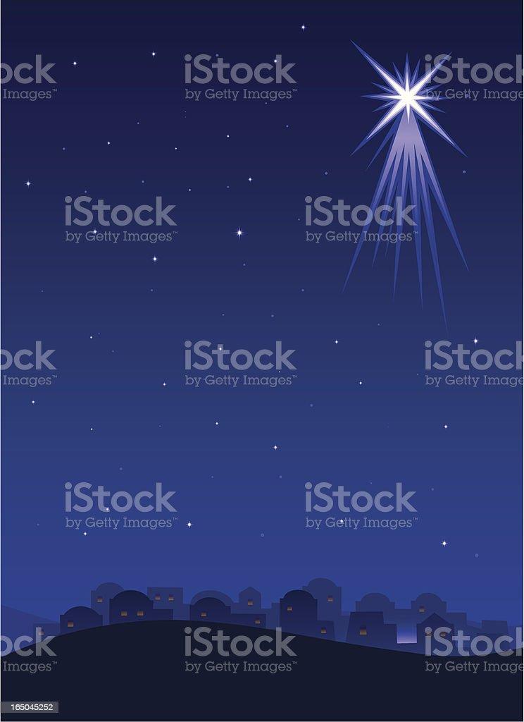 Bethlehem at night vector art illustration