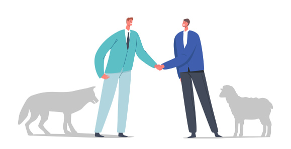 Betrayal, Trickery, False Agreement or Dangerous Friendship Concept. Wolf and Sheep Business Partners Characters Meet