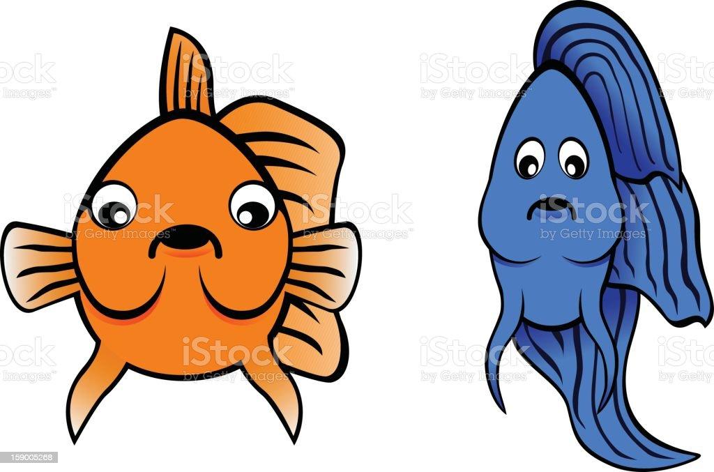 Betta Fish and Goldfish Cartoon royalty-free stock vector art