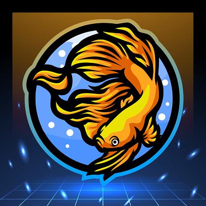 Betta fish mascot. esport logo design