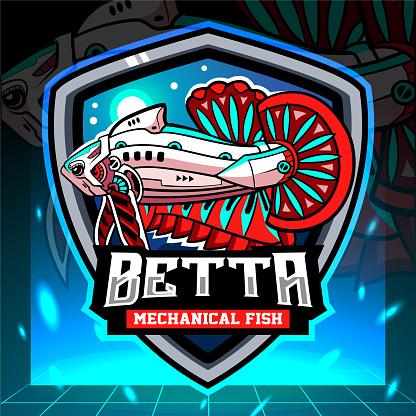 Betta fish mecha robot mascot.     design