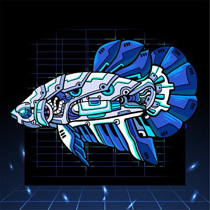 Betta fish mecha robot mascot. esport logo design