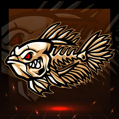 Betta fish skeleton mascot. esport logo design