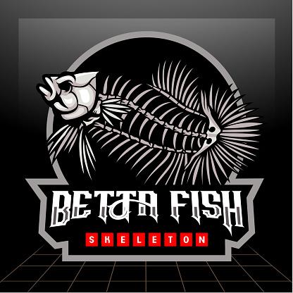Betta fish skeleton mascot. esport symbol design