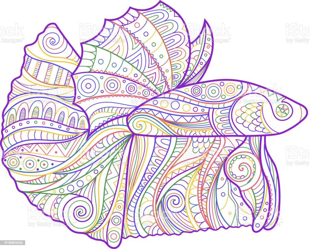Betta Fish Zenart Stylized Stock Vector Art & More Images of ...