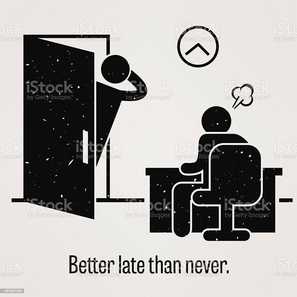 Better Late Than Never vector art illustration
