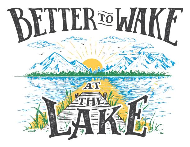 ilustraciones, imágenes clip art, dibujos animados e iconos de stock de mejor para despertar en la ilustración de lago - lago