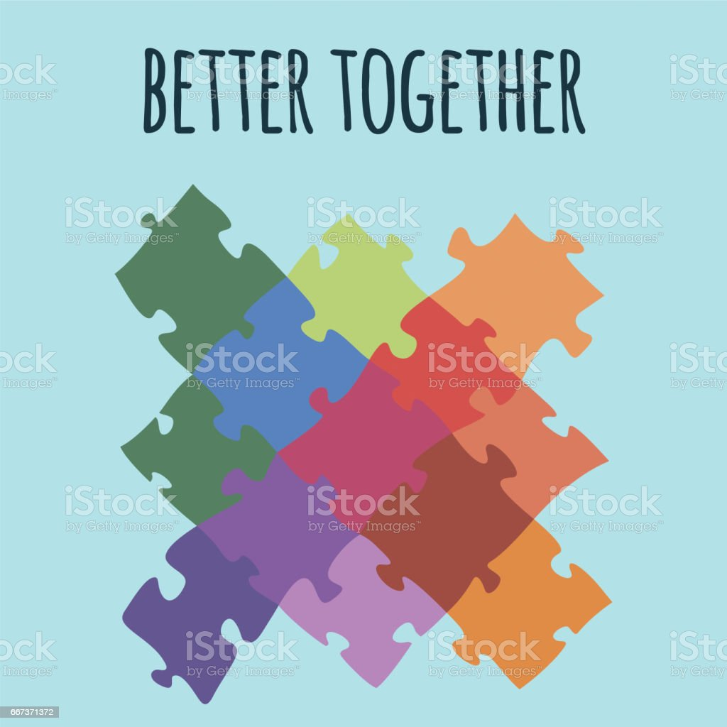 Better together logotype design made of puzzle vector colorful illustration vector art illustration