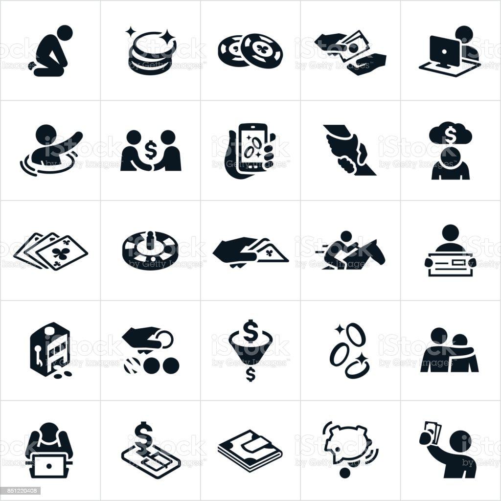 Apostas e jogos de azar ícones - ilustração de arte em vetor