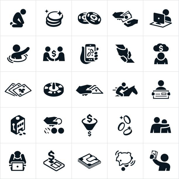 Betting and Gambling Icons A betting and gambling set of icons. The icons include people betting, gambling, exchanging money, online gambling, money, chips, payment, despair, depression, loss, horse racing, cards, lottery, winning, winner, slot machine and other related icons. gambling stock illustrations