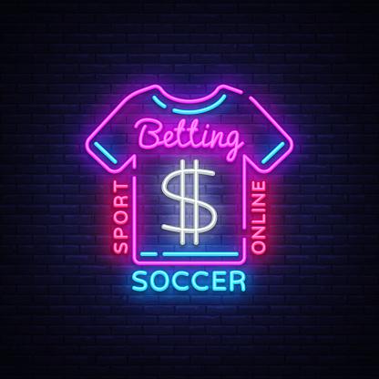 Betting Soccer neon sign. Football betting  in neon style, T-shirt concept, light banner, bright night betting sports advertisement, design element gambling, casino. Vector illustration