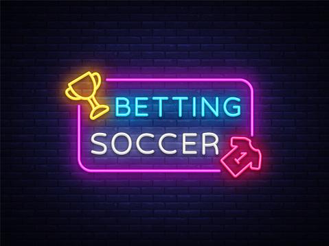 Betting Soccer neon vector. Betting football neon sign. Bright night signboard on gambling, betting. Light banner, design element