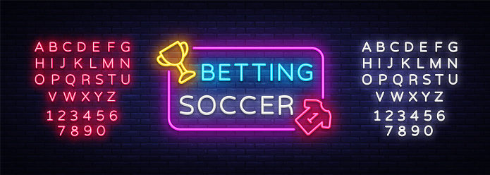 Betting Soccer neon vector. Betting football neon sign. Bright night signboard on gambling, betting. Light banner, design element. Editing text neon sign