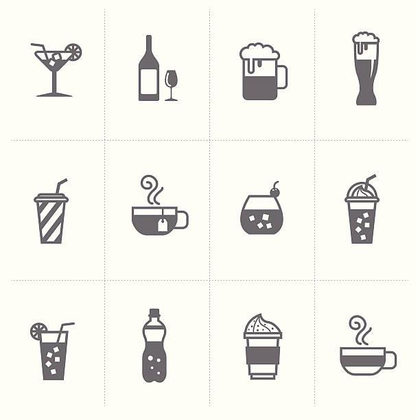 illustrazioni stock, clip art, cartoni animati e icone di tendenza di set di icone di birra e bevande - fruit juice bottle isolated