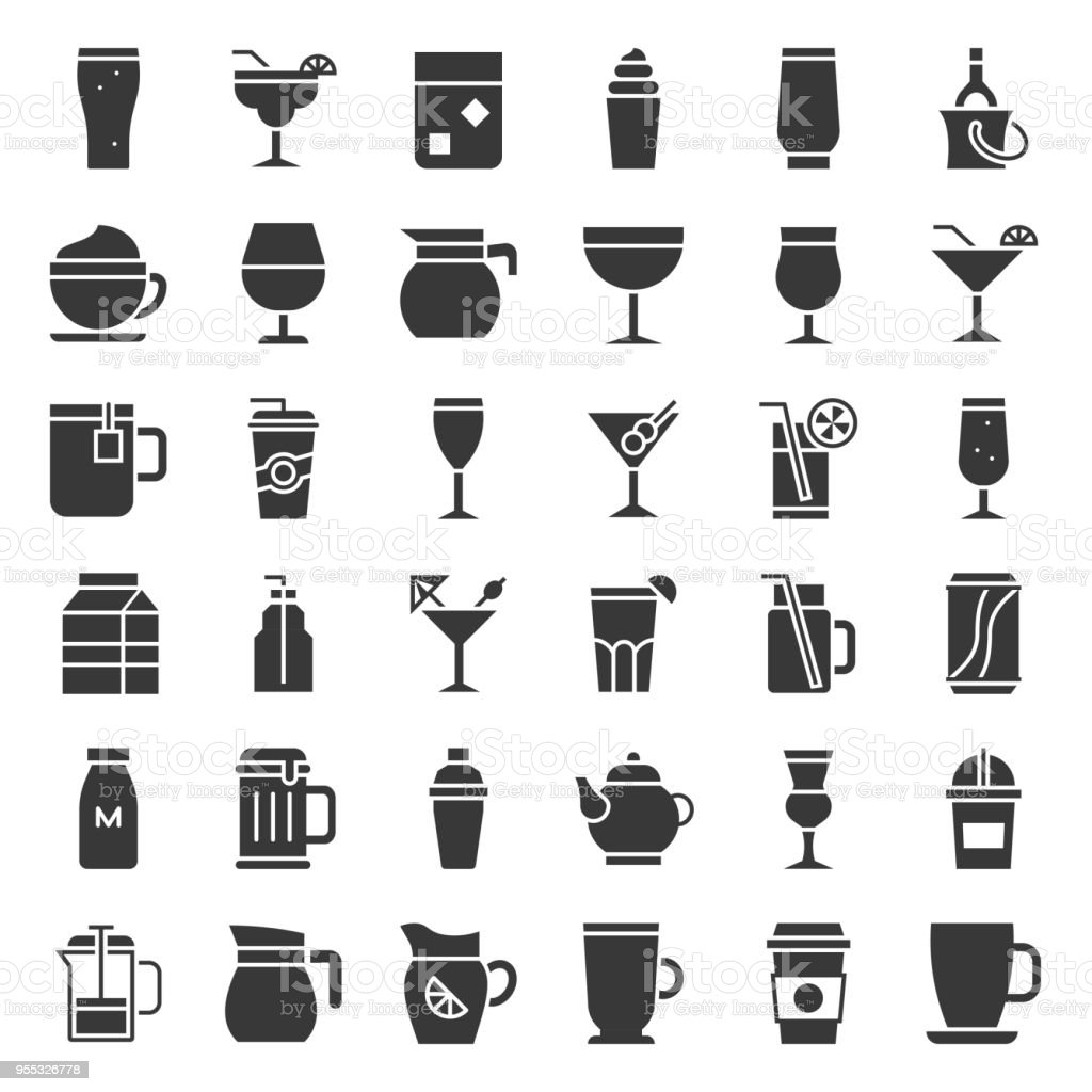 beverage and glass element set, solid icon vector vector art illustration
