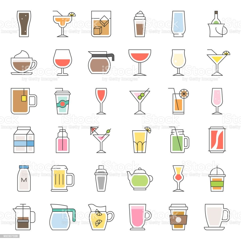 beverage and glass set, filled outline icon vector vector art illustration