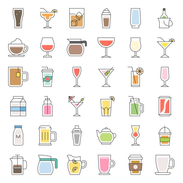 beverage and glass set, filled outline icon vector - refreshment stock illustrations, clip art, cartoons, & icons