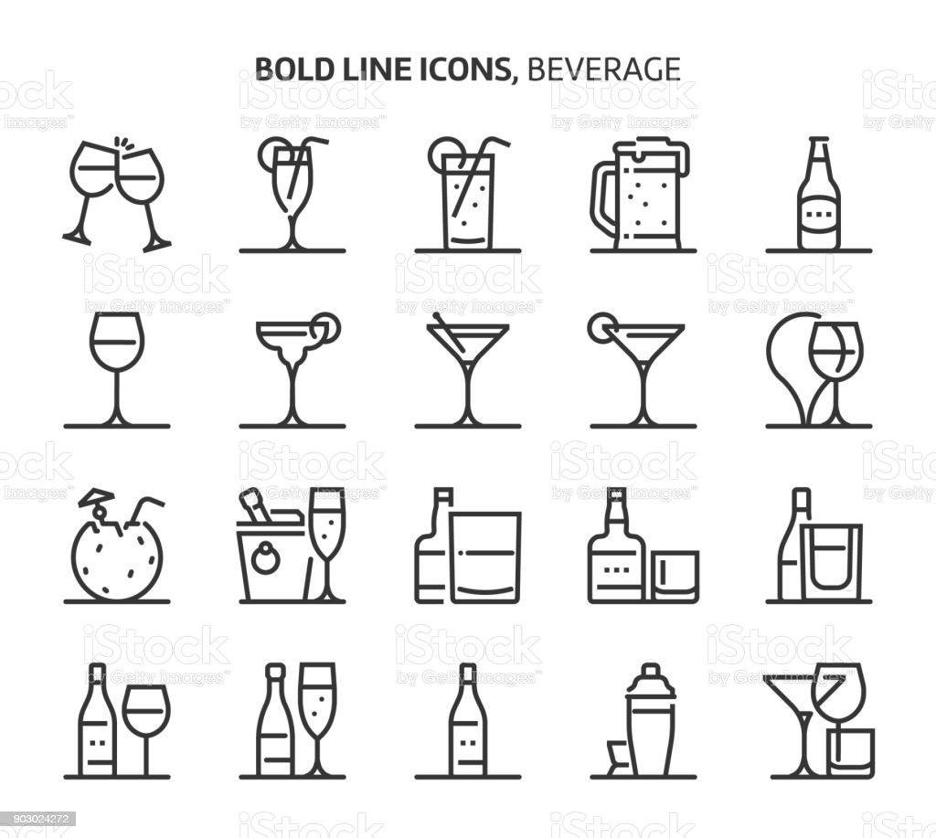 Bebida, los iconos de línea - ilustración de arte vectorial