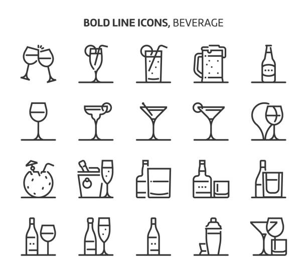 Beverage, bold line icons vector art illustration
