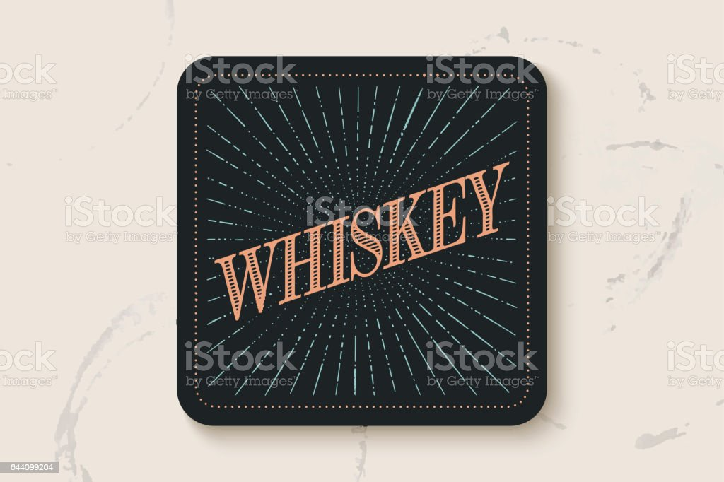 Beverage coaster for glass with inscription Whiskey vector art illustration