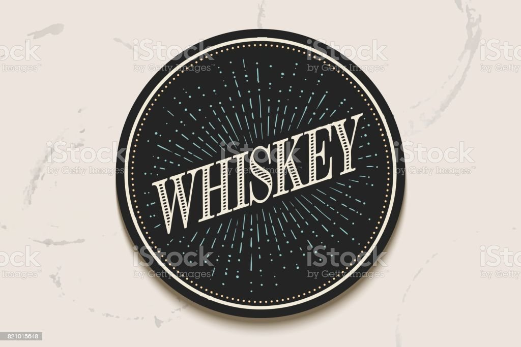 Beverage coaster with inscription Whiskey and light rays vector art illustration