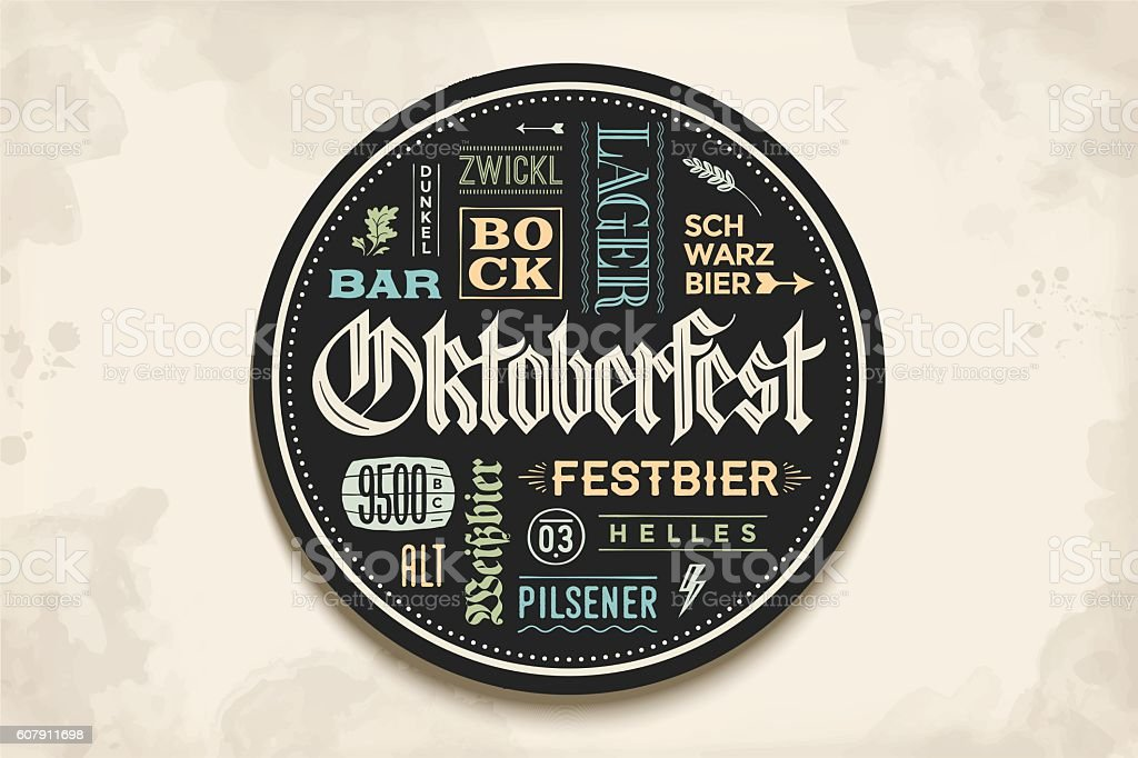 Beverage coaster with lettering for Oktoberfest Beer Festival vector art illustration