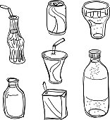 Seven sketch drawing of beverage. It includes bottle, can, glass, drink and coke.