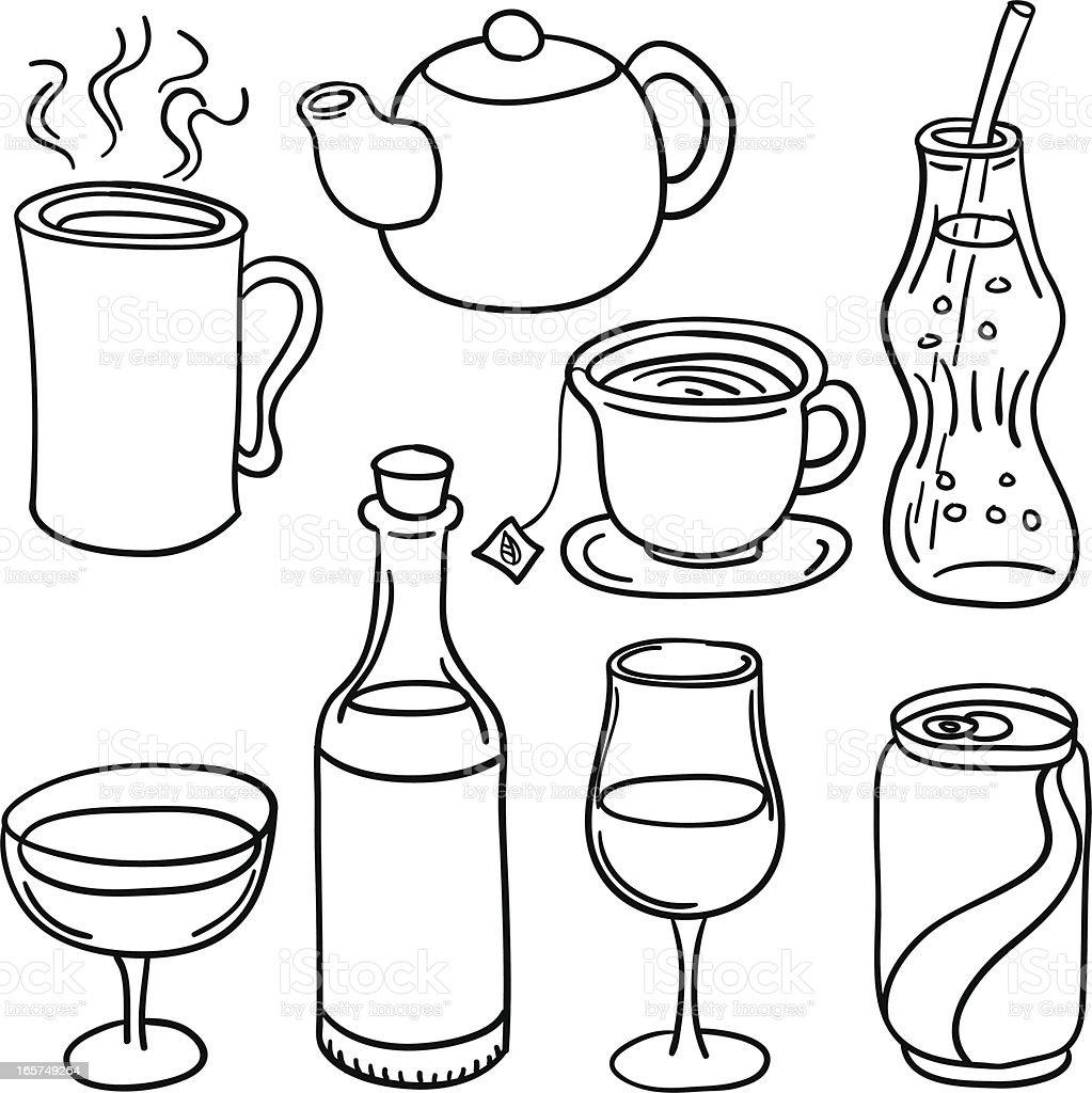 Beverage collection in Black and Whitevectorkunst illustratie
